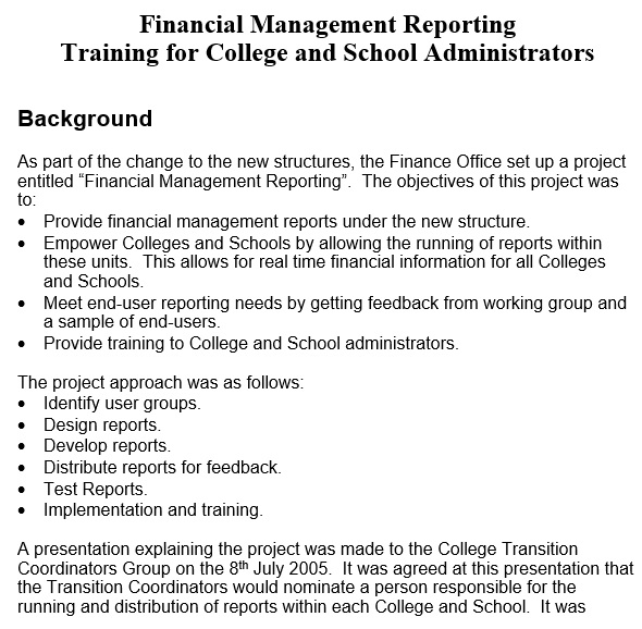 financial management reporting training for college and school administrators