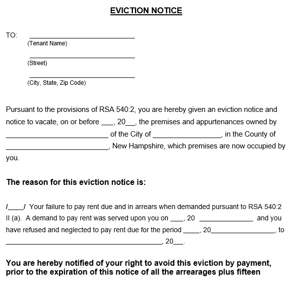 2 week eviction notice template