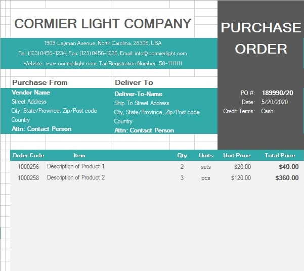 best purchase order template 5