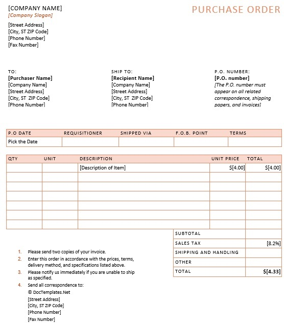 best purchase order template 9