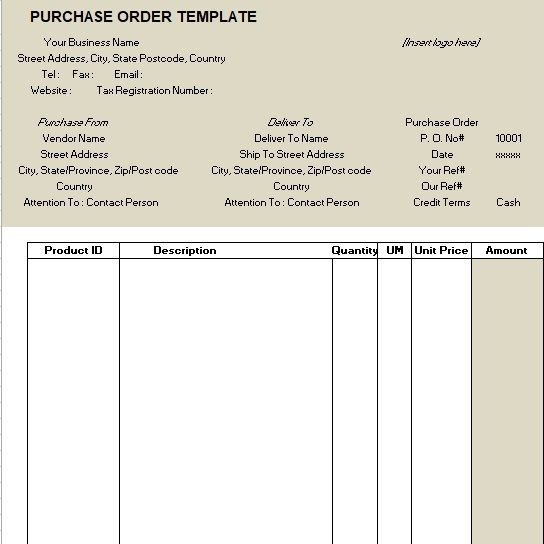 best purchase order template excel