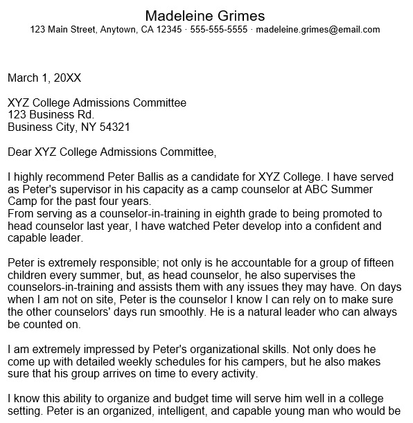 college recommendation letter example