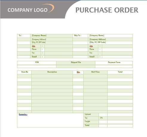 company purchase order template word