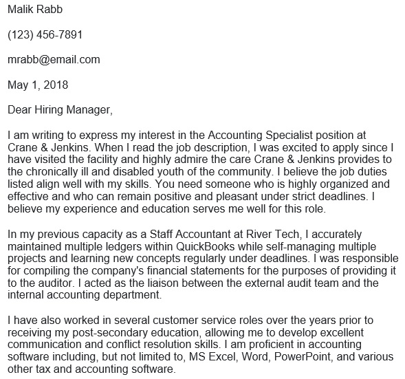 free accounting cover letter 1