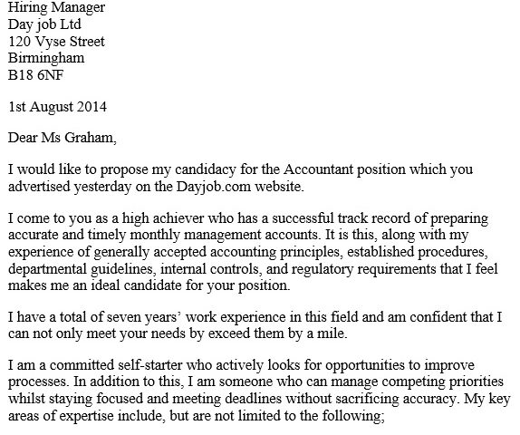 free accounting cover letter