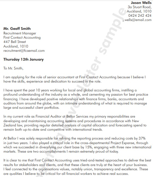 free accounting cover letter template