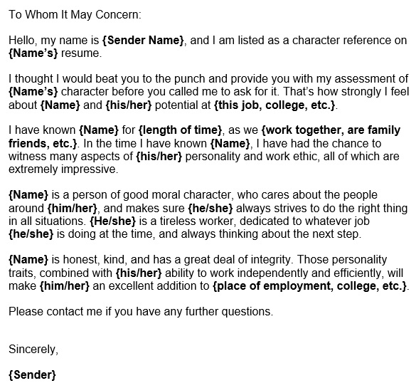 free character reference letter for a friend