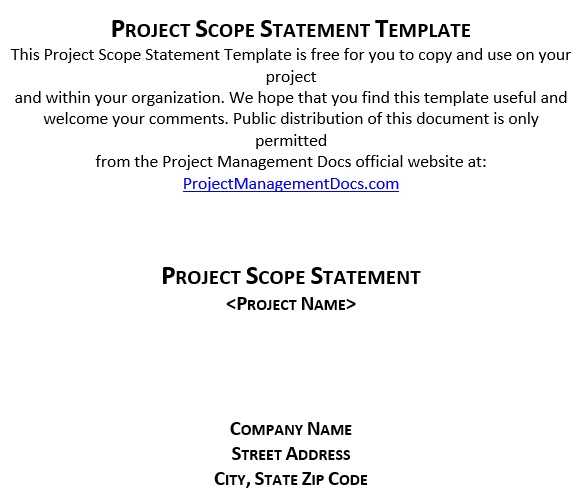 free project scope template