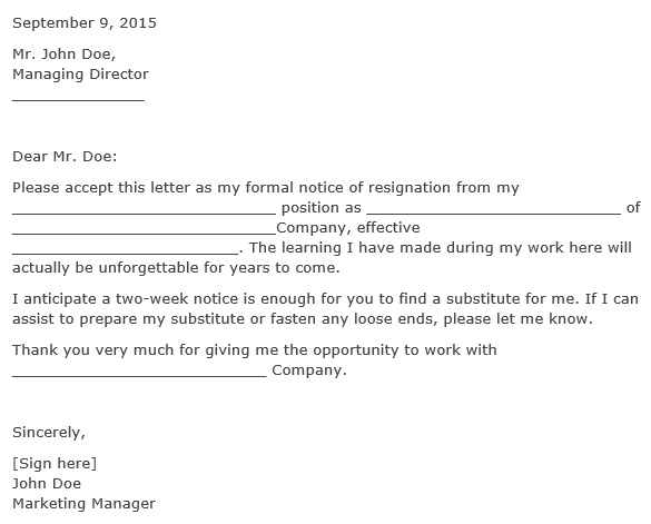 free two week notice letter 3