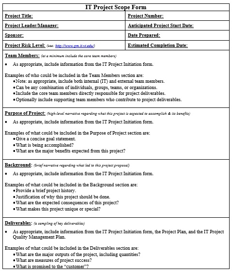 it project scope form