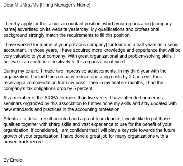 printable accounting cover letter template