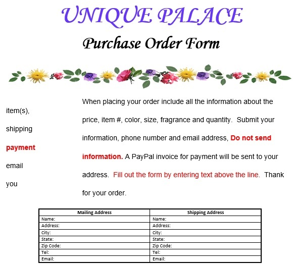 printable purchase order form