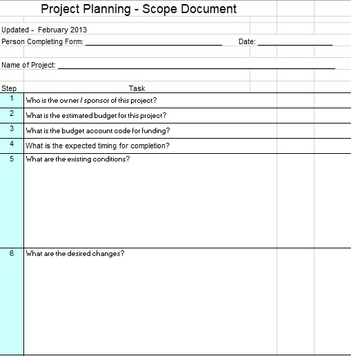 project planning scope document template