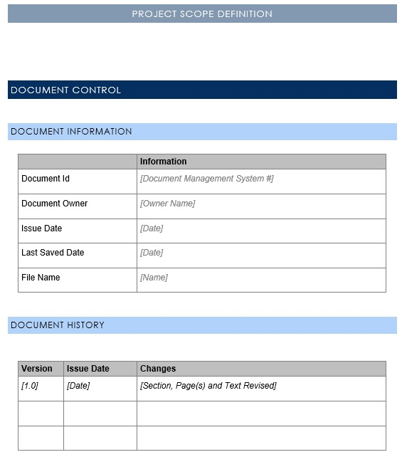 project scope definition template