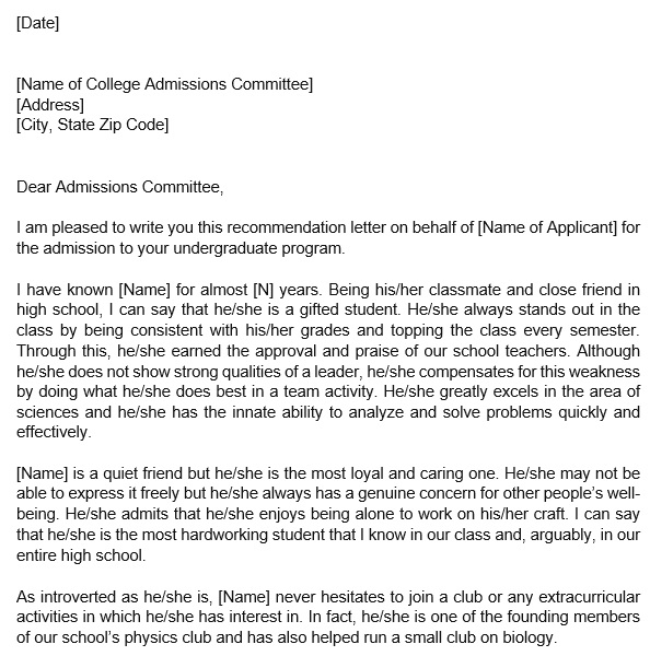recommendation letter for college