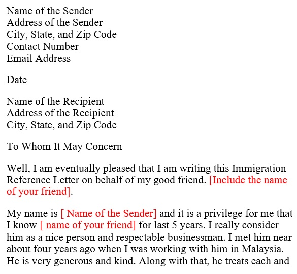 sample character reference letter for a friend for immigration
