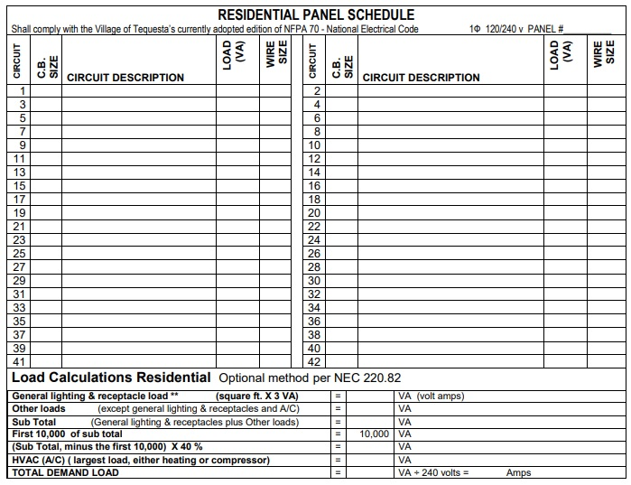 schedule for residential panel template