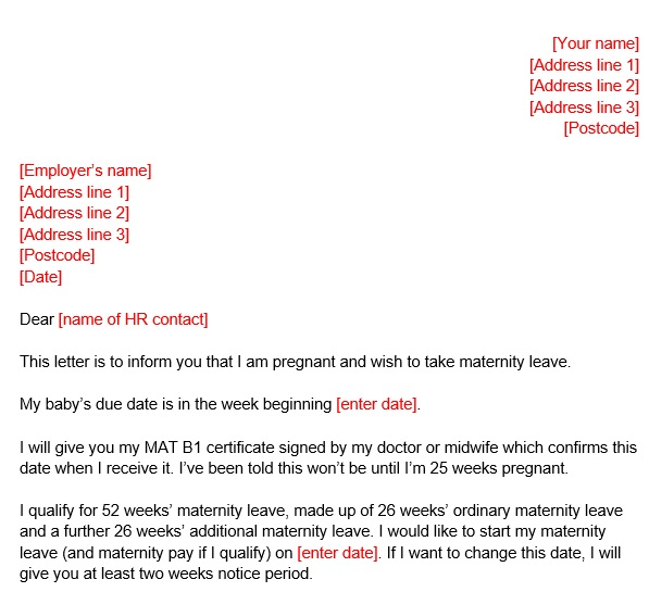 two week notice letter after maternity leave