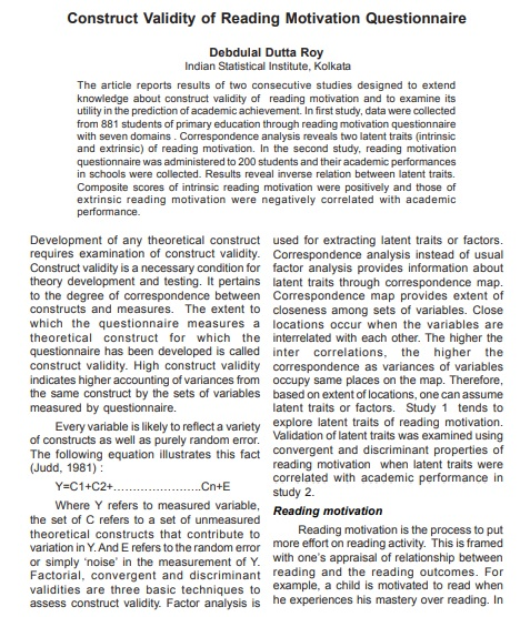 construct validity of reading motivation questionnaire