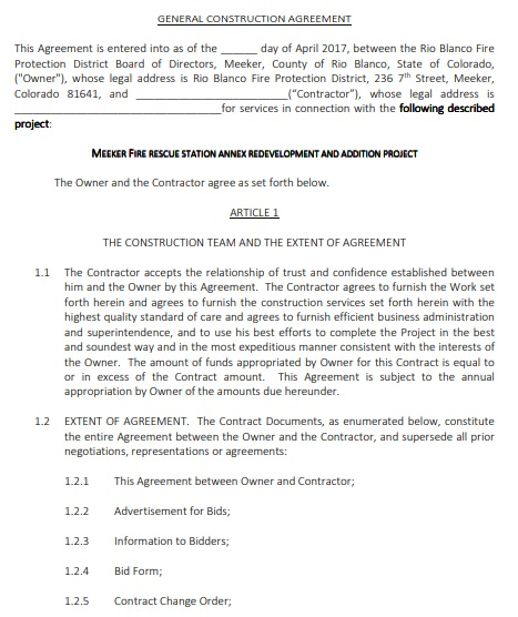 general construction agreement template
