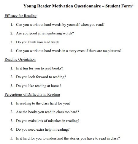 young reader motivation questionnaire